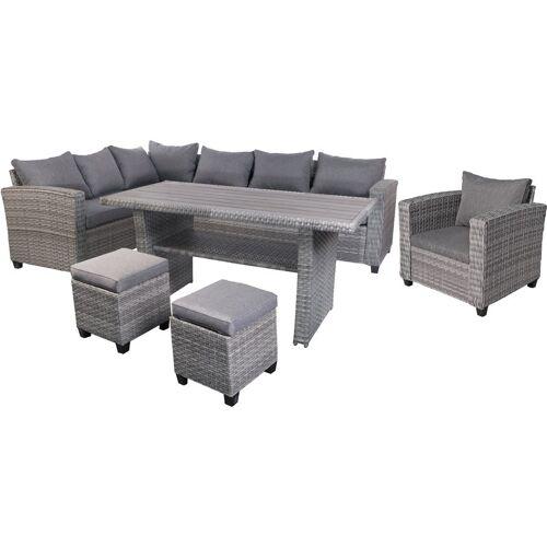 Finehome - Terassen-Lounge Set LEON grau mit 2 Stühlen und
