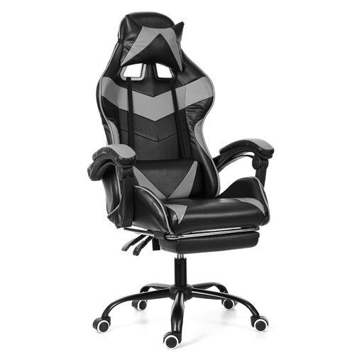 INSMA Bürostuhl Gaming Gamer Stuhl ohne Fußstütze Grau