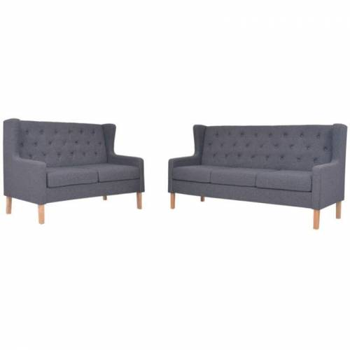 VIDAXL Sofa-Set Stoff 2-Sitzer-Sofa 3-Sitzer-Sofa Grau 2-tlg.