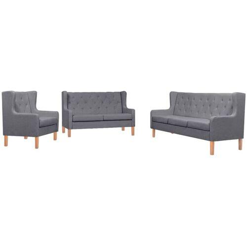 VIDAXL Sofa-Set Stoff Sessel 2-Sitzer-Sofa 3-Sitzer-Sofa Grau 3-tlg.