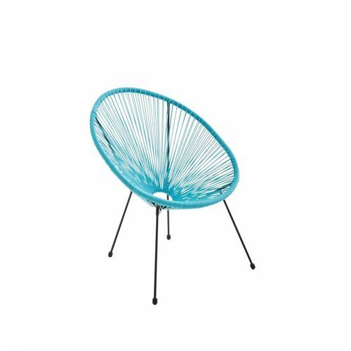 ALICE'S GARDEN ACAPULCO eiförmiger Sessel - Cyan - 4-beiniger Sessel im Retro-Design,