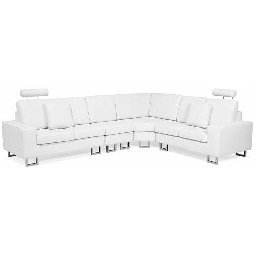 Beliani - Ecksofa Weiß Echtleder L-Förmig Linksseitig Modern Wohnzimmer