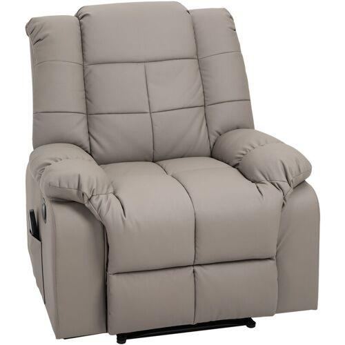 HOMCOM® Massagesessel mit Heizfunktion Fernsehsessel Relaxsessel Grau