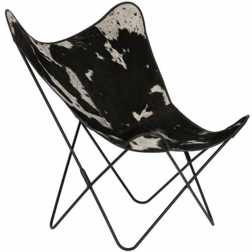 Kave Home - Fly Stuhl, Kuhfell - Black