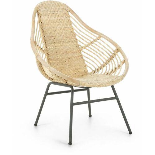 La Forma - Kave Home - Sessel Tinne aus geflochtenem Rattan mit Beinen