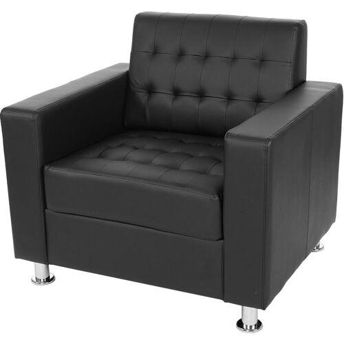 HHG Sessel Pori, Clubsessel Loungesessel, Kunstleder, Metall-Füße ~ schwarz