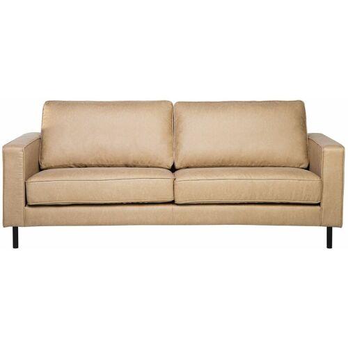 Beliani - Sofa 3-Sitzer Lederoptik modernes Ledersofa in Beige