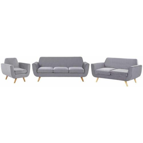 Beliani - Sofa Set Grau Samtstoffbezug 3-Sitzer 2-Sitzer und Sessel