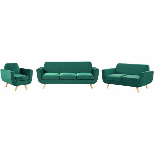 Beliani - Sofa Set Grün Samtstoffbezug 3-Sitzer 2-Sitzer und Sessel