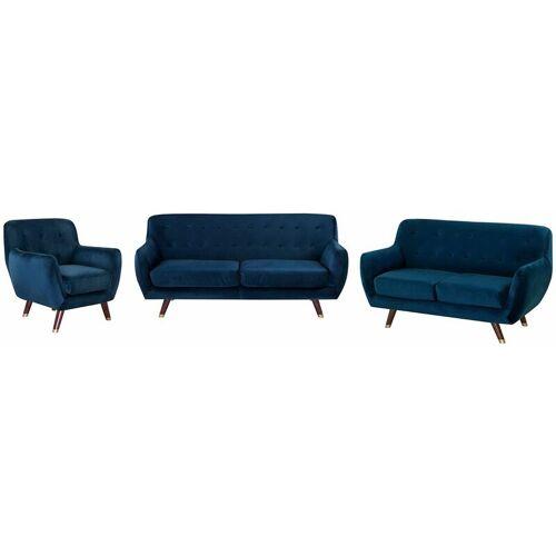 BELIANI Modernes Sofa Set mit Sessel aus Samtstoff in Marineblau Bodo - BELIANI