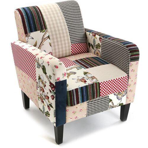 Versa Romantic Patchwork Sessel für Wohnzimmer, bequemer Sessel,