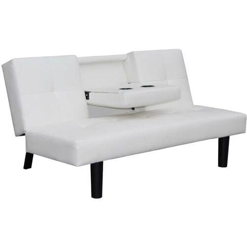YOUTHUP Schlafsofa mit ausklappbarem Tisch Kunstleder Weiß