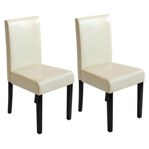 HHG 2x Esszimmerstuhl Küchenstuhl Stuhl Littau ~ creme, dunkle Beine