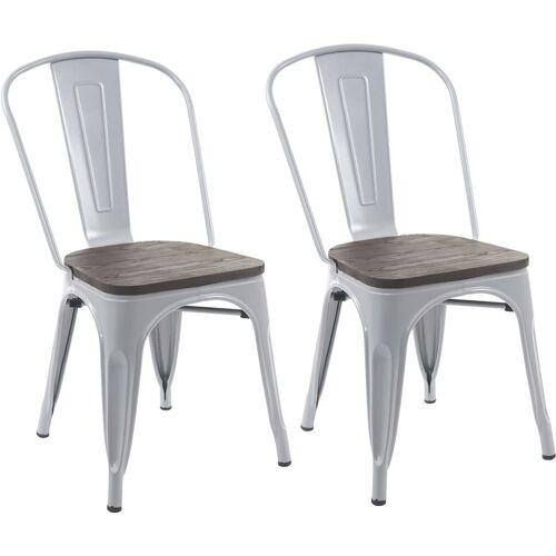 HHG 2x Stuhl 404 inkl. Holz-Sitzfläche, Bistrostuhl Stapelstuhl, Metall