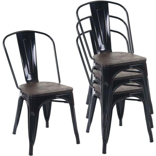 HHG 4x Stuhl 775 inkl. Holz-Sitzfläche, Bistrostuhl Stapelstuhl, Metall