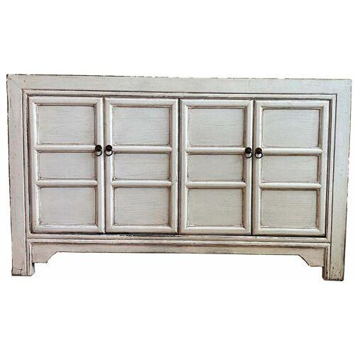 ASIENLIFESTYLE Asiatische Holz Kommode - Sideboard in Weiß