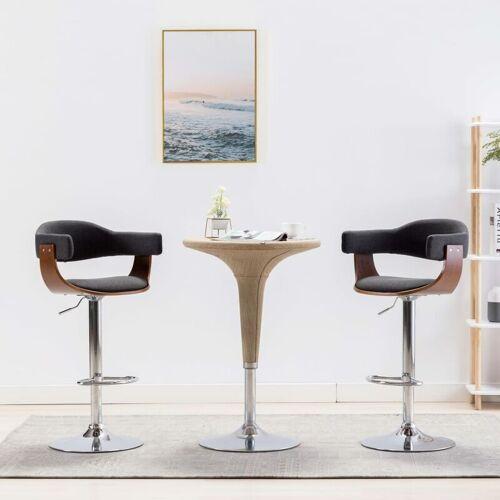 Zqyrlar - Barstühle 2 Stk. Grau Bugholz und Stoff
