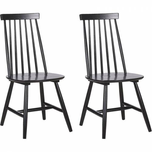 BELIANI Stuhl Holz Schwarz 2er Set im Landhausstil Holzstühle