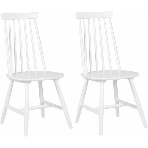 Beliani - Stuhl Holz Weiß 2er Set im Landhausstil Holzstühle