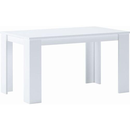 SKRAUT HOME Esszimmertisch und Wohnzimmertisch 140 cm , rechteckig, matt weiß,