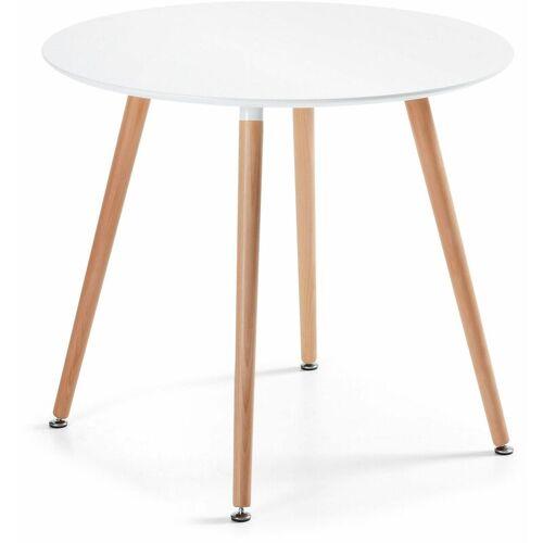 Kave Home - Esstisch Wad rund Ø100 cm wei? mit Beinen aus Buchenholz