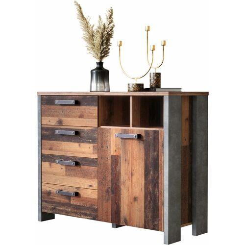 Newfurn Kommode Betonoptik Dunkelgrau Old Wood Sideboard Vintage
