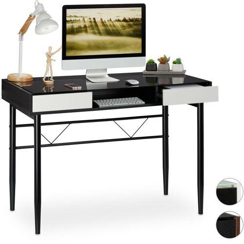 Relaxdays - Schreibtisch Glas, Kabeldurchführung, Bürotisch mit
