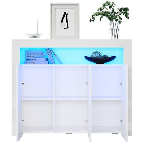 SONNI Sideboard Weiss Kommode Hochglanz Wohnzimmer LED Wohnzimmermöbel