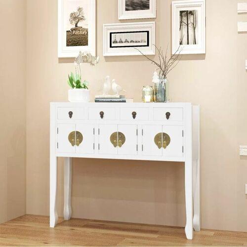Topdeal Sideboard im chinesischen Stil Massivholz Weiß 09356