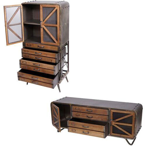 HHG Wohnzimmer-Set HHG-613, TV-Rack Kommode Highboard Hochschrank,