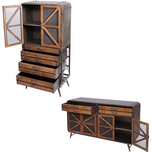 HHG Wohnzimmer-Set HHG-614, Sideboard Kommode Highboard Hochschrank,