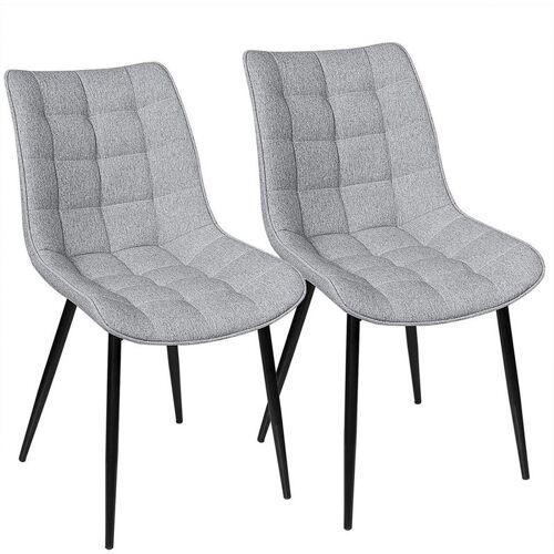WOLTU 2er-Set Küchenstühle aus Leinen Elif hellgrau - WOLTU