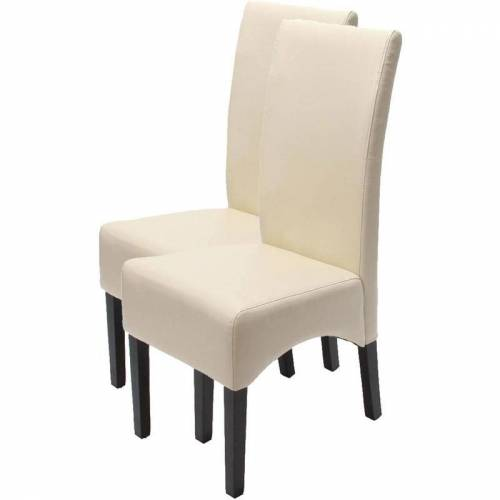 HHG - 2x Esszimmerstuhl Küchenstuhl Stuhl Crotone, LEDER ~ creme,