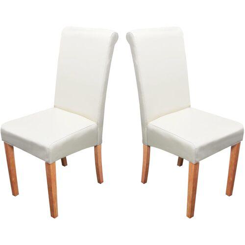 HHG 2x Esszimmerstuhl Stuhl Küchenstuhl Lecce II, Leder ~ creme, helle Beine