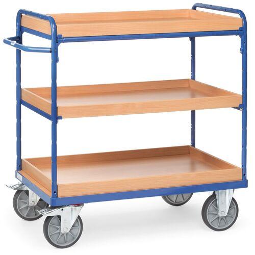 Fetra Etagenwagen mit Holzkästen 3 Etagen 1000x600