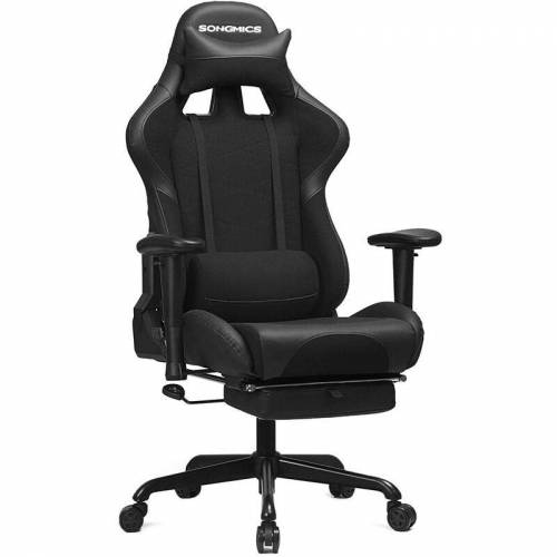 Songmics - Gaming Stuhl mit Fußstütze, 150 kg, Bürostuhl,
