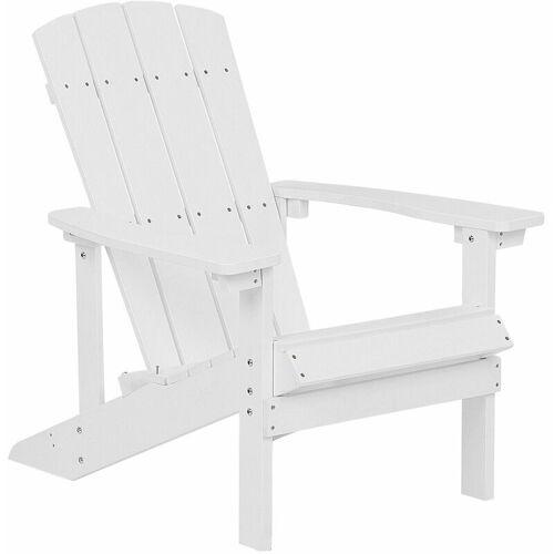 BELIANI Gartenstuhl Weiß Kunstholz Muskoka Stuhl mit breiten Armlehnen