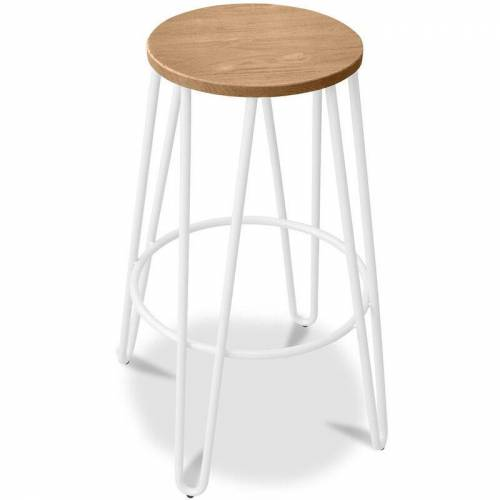 Privatefloor - Hairpin-Barhocker 66cm - Helles Holz und Metall Weiß
