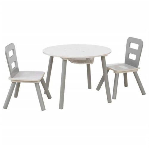 KIDKRAFT Kindertisch mit 2 Stühlen Massivholz Grau - Kidkraft