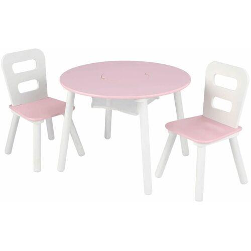 KIDKRAFT Kindertisch mit 2 Stühlen Massivholz Rosa - Kidkraft