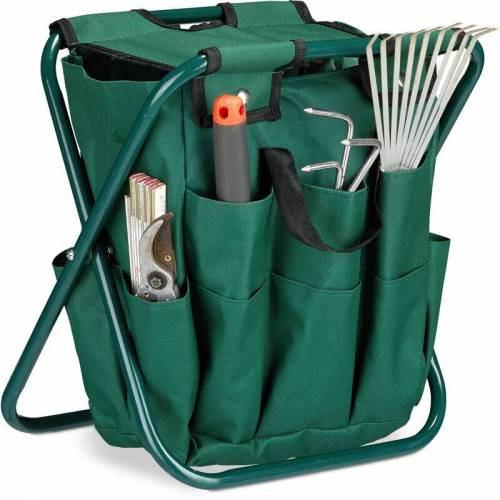 Relaxdays - Gartenwerkzeug Hocker, Gartengeräte Aufbewahrung, klappbar,