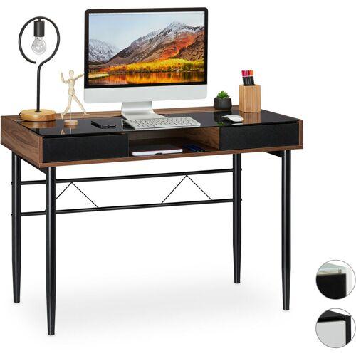 RELAXDAYS Schreibtisch Glas, Kabeldurchführung, Bürotisch mit Schubladen, PC