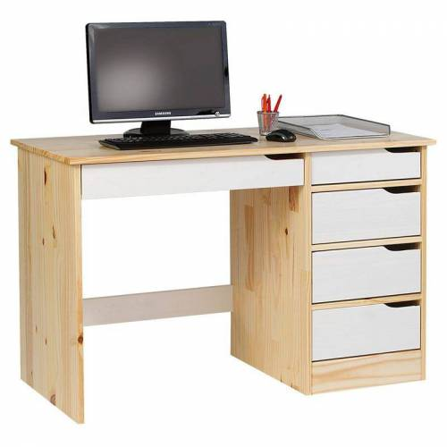 Idimex - Schreibtisch HUGO in Kiefer massiv natur/wei