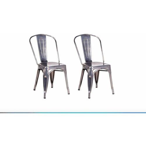 FASHION COMMERCE Set aus 2 Stühlen im modernen Stil Tolix Stuhl aus Stahl in Zinkgrau