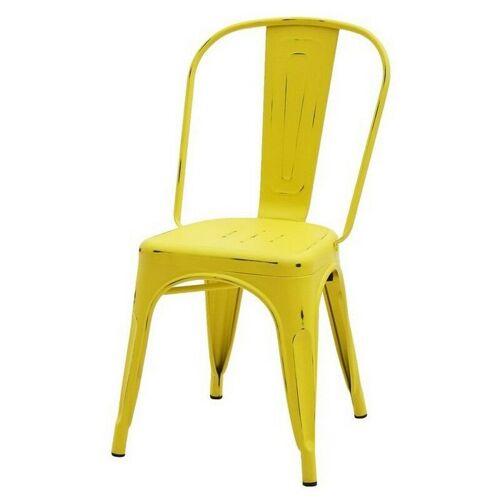 FASHION COMMERCE Set aus 4 Stühlen im modernen Stil Tolix Stühle in Gelb antiquiert