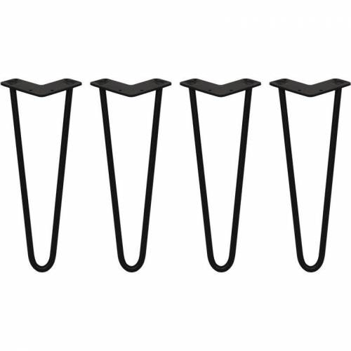 SKISKI LEGS 4 x 2 Streben Hairpin-Tischbeine 35.5cm H 12mm D Schwarz - Skiski