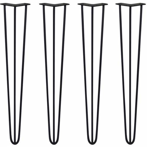 SKISKI LEGS 4 x 3 Streben Hairpin-Tischbeine 71cm H 10mm D Schwarz - Skiski