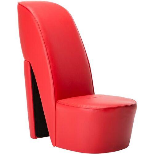 VIDAXL Stuhl in Stöckelschuh-Form Kunstleder Rot