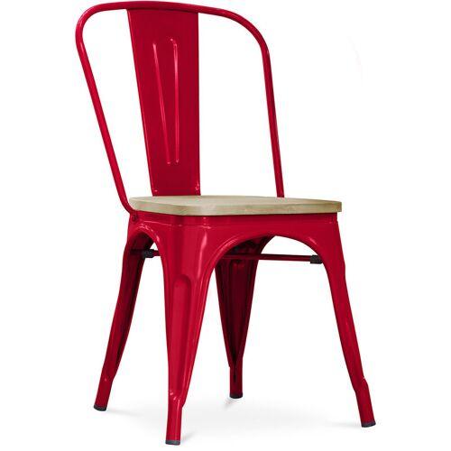 PRIVATEFLOOR Style Tolix Stuhl - Metall und helles Holz Rot