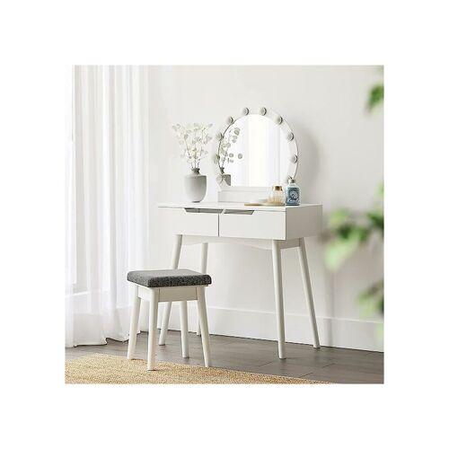 SONGMICS VASAGLE Schminktisch mit Hocker + LED + rundem Spiegel   Kosmetiktisch
